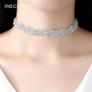 Mecresh Simple Silver Color Crystal Princess Choker Necklace Rhinestone Best Friends Collar Necklace Christmas Jewelry MXL130