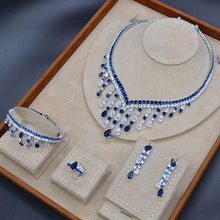 Load image into Gallery viewer, Luxury Long Tassel Drop 4PC Saudi Arabia Silver Jewelry Sets For Women Wedding Zircon Crystal CZ Indian Bridal Jewelry Set