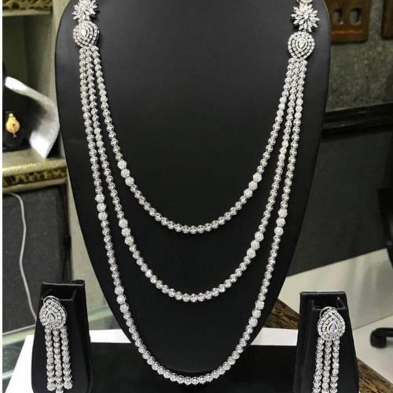 Exclusive Long Chain Cubic Zirconia Wedding Bridal Dubai Jewelry Sets for Woman Gold Luxury Jewelry Set N46