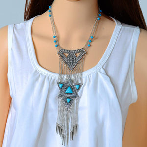 Long Tassel Retro Silver Plated Turquoise Necklace