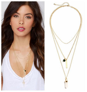 Vintage Multi-layers Long Gold Plated Chain Necklace with Zircon Bar