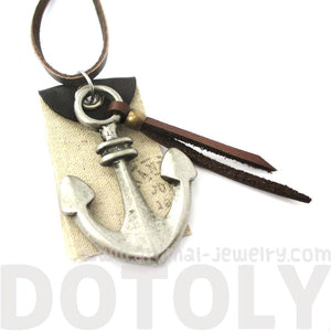 Realistic Anchor Nautical Themed Pendant Necklace in Silver with Leather Accents | DOTOLY