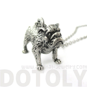 Realistic Life Like Bulldog Shaped Animal Pendant Necklace in Silver | Jewelry for Dog Lovers