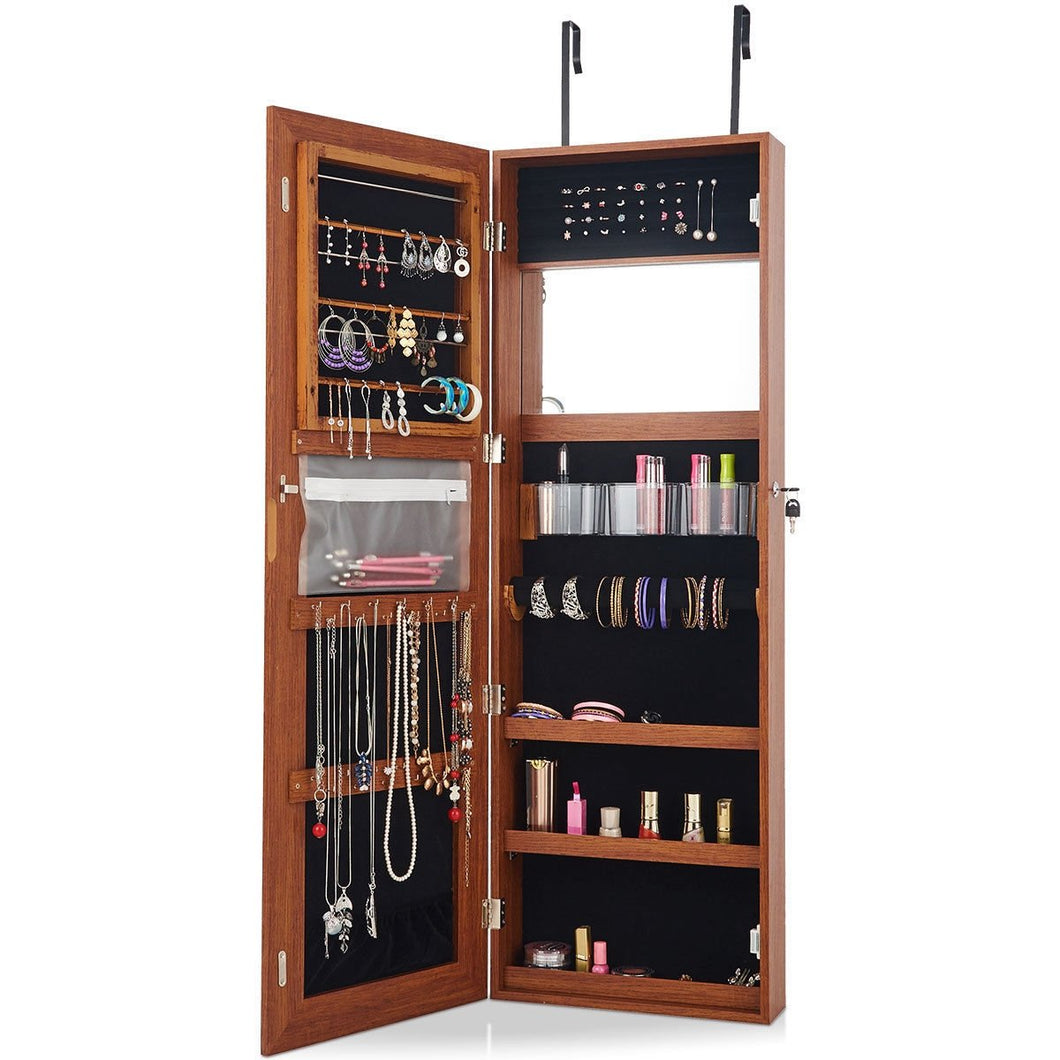 Lockable Storage Jewelry Cabinet  with Frameless Mirror-Coffee