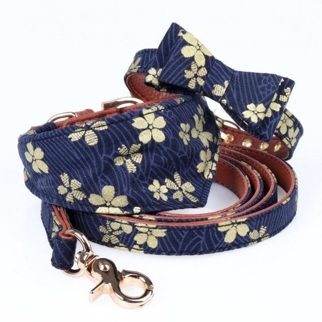 Dog Scarf -Japanese Style Bow Collar Floral Leashes Necklace Outdoor Indoor Supplies