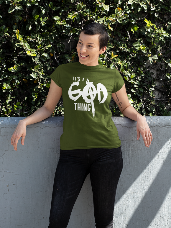 It's A God Thing Adult unisex shirt: Green/White