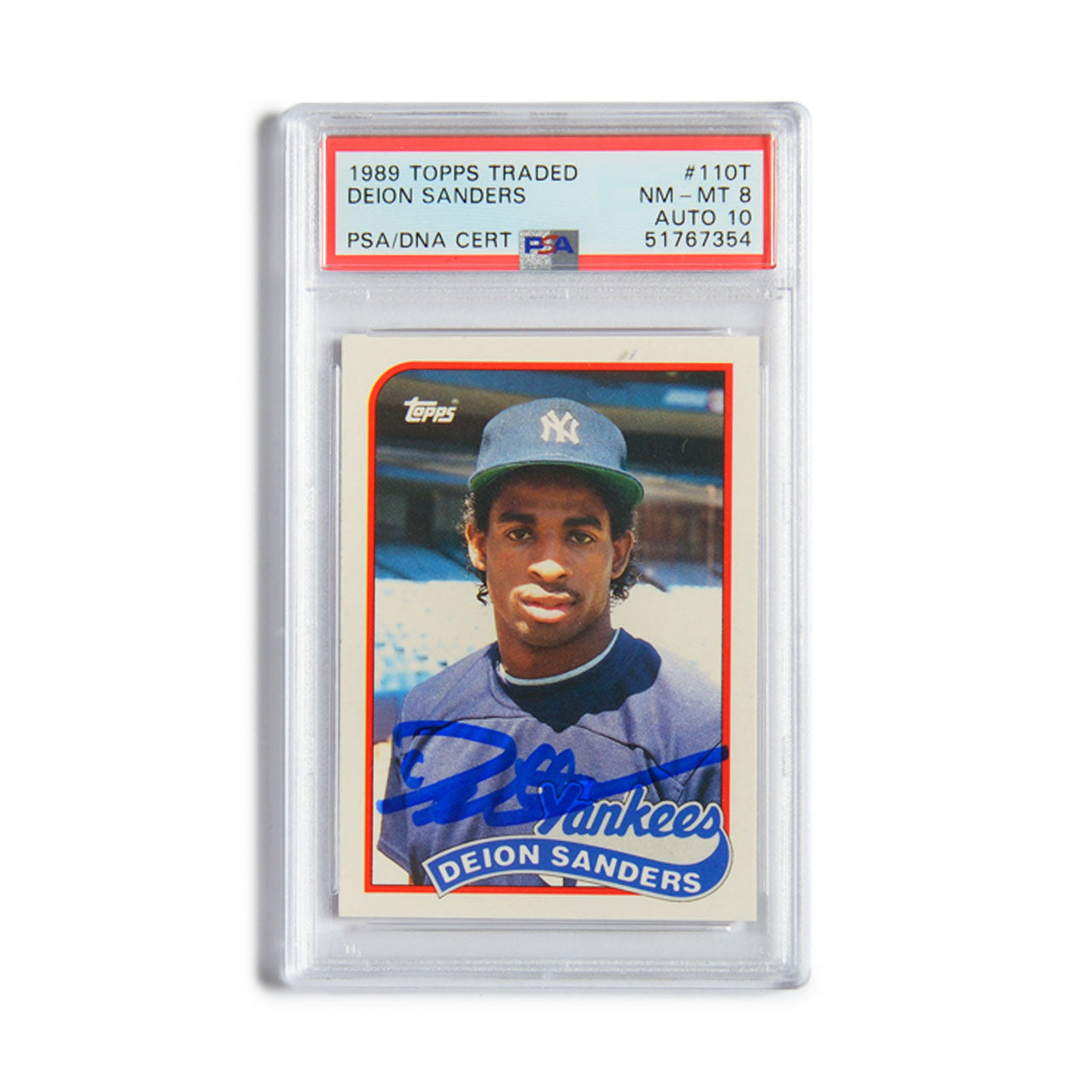1989 Topps Traded Deion Sanders Autographed Rookie Card