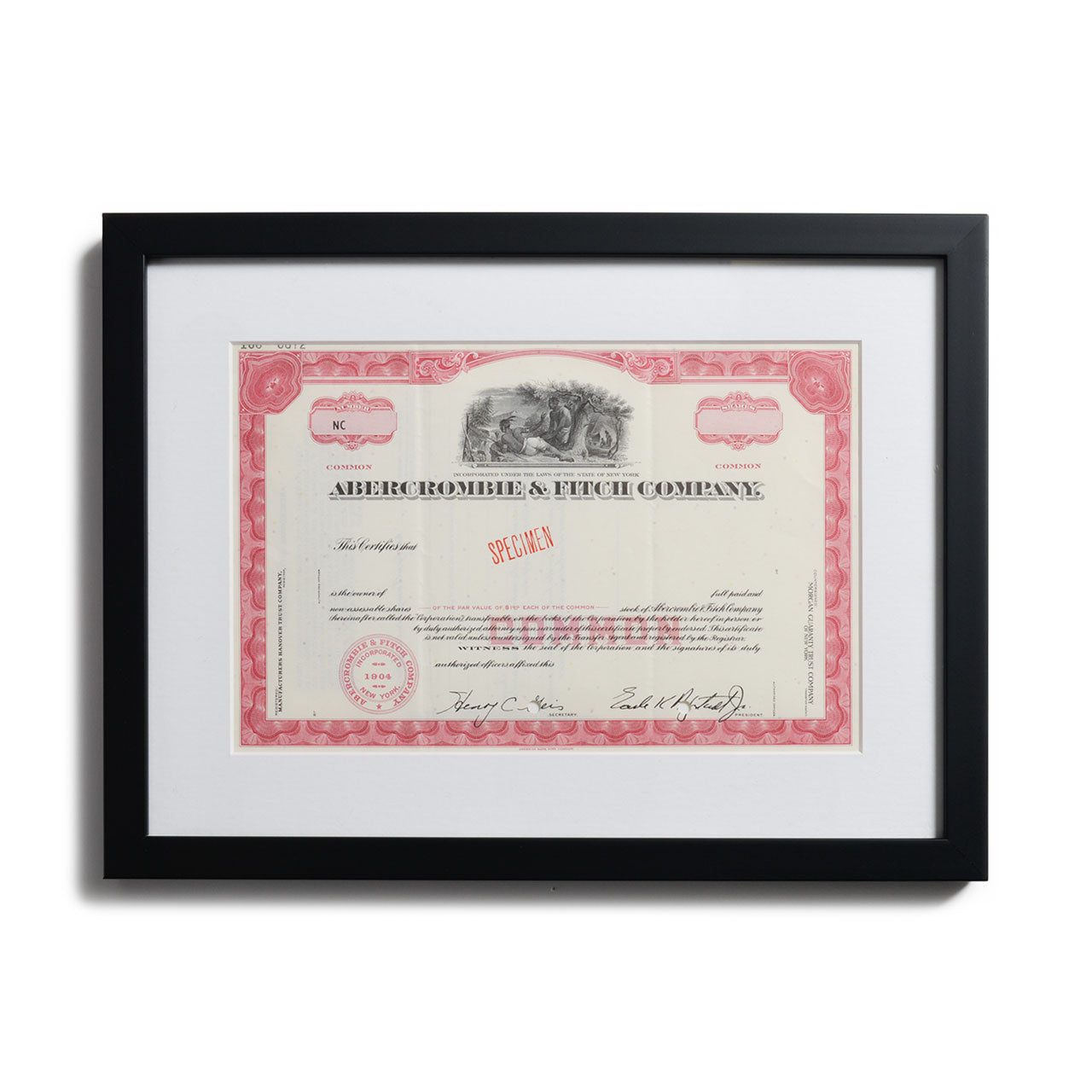 Abercrombie & Fitch Framed Stock Certificate