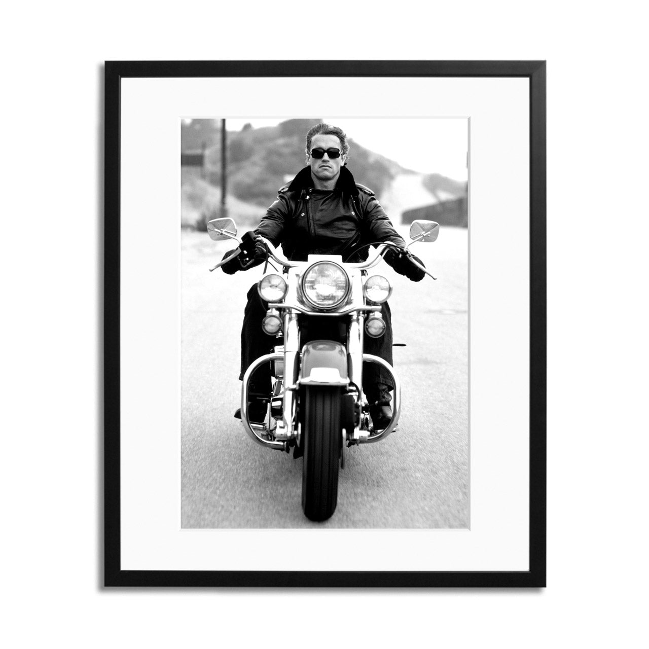 Arnold on Motorcycle Framed Print