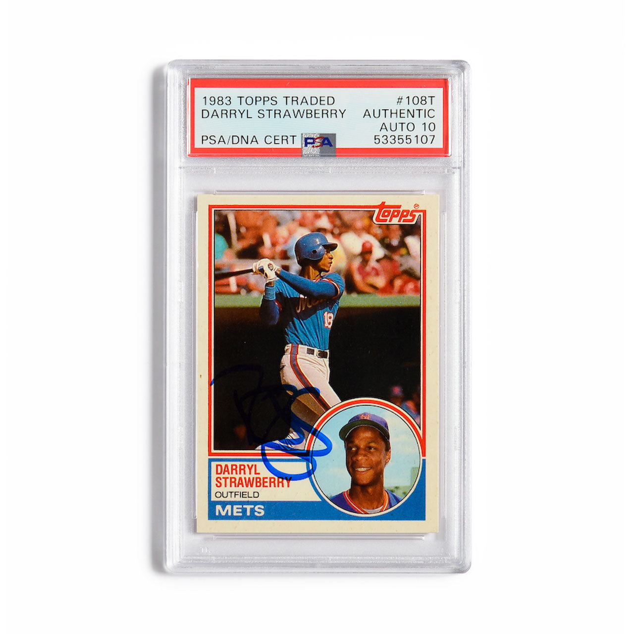 1983 Topps Traded Darryl Strawberry Autographed Rookie Card