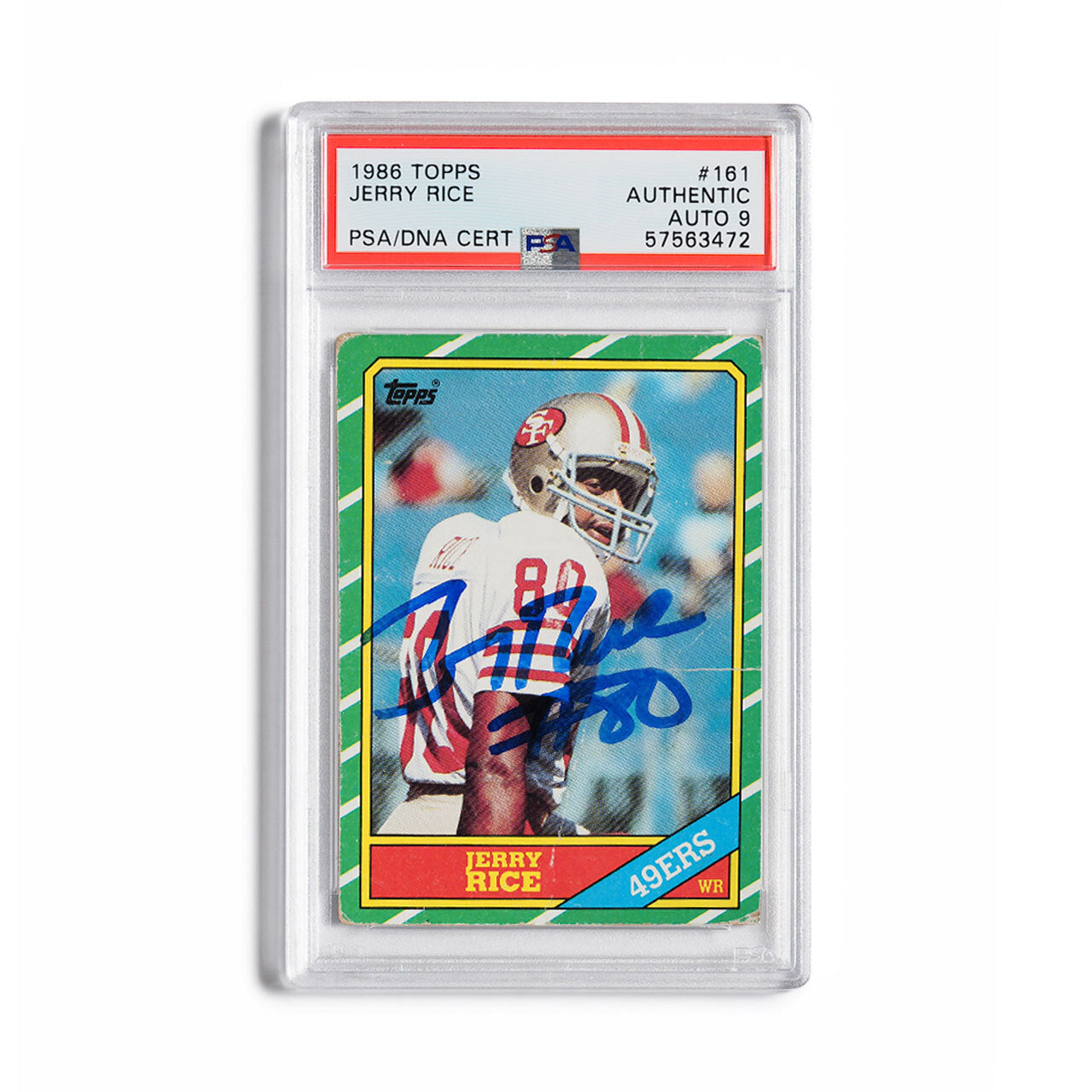 1986 Topps Jerry Rice Autographed Rookie Card