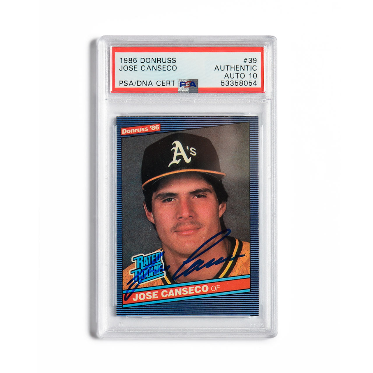 1986 Donruss Jose Canseco Autographed Rookie Card
