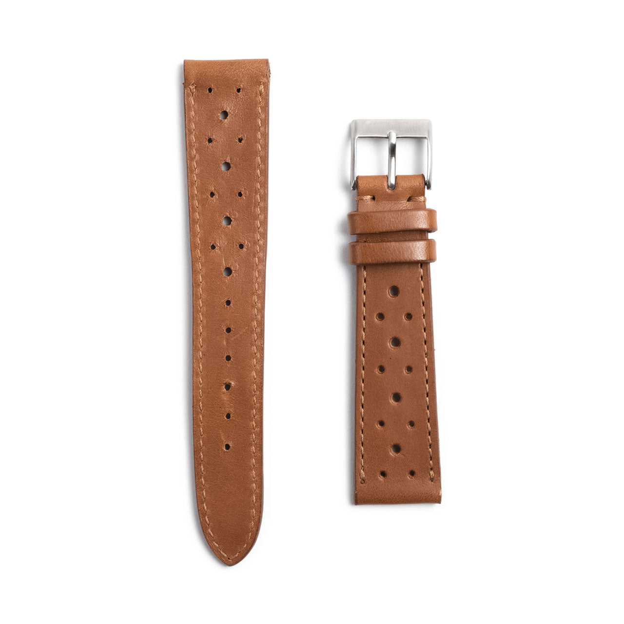 Brown Leather Racing Watch Strap