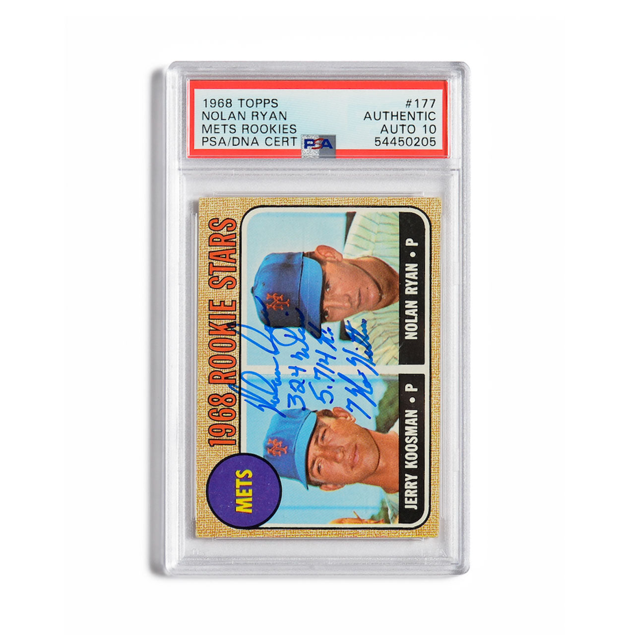 1968 Topps Nolan Ryan Autographed Rookie Card