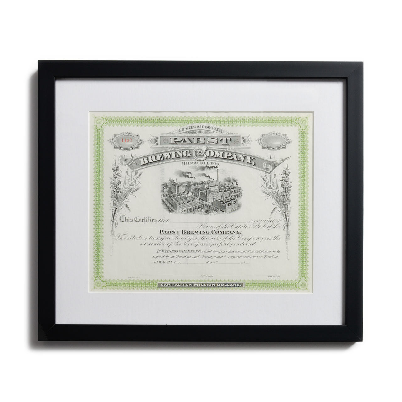 Pabst Brewing Framed Stock Certificate