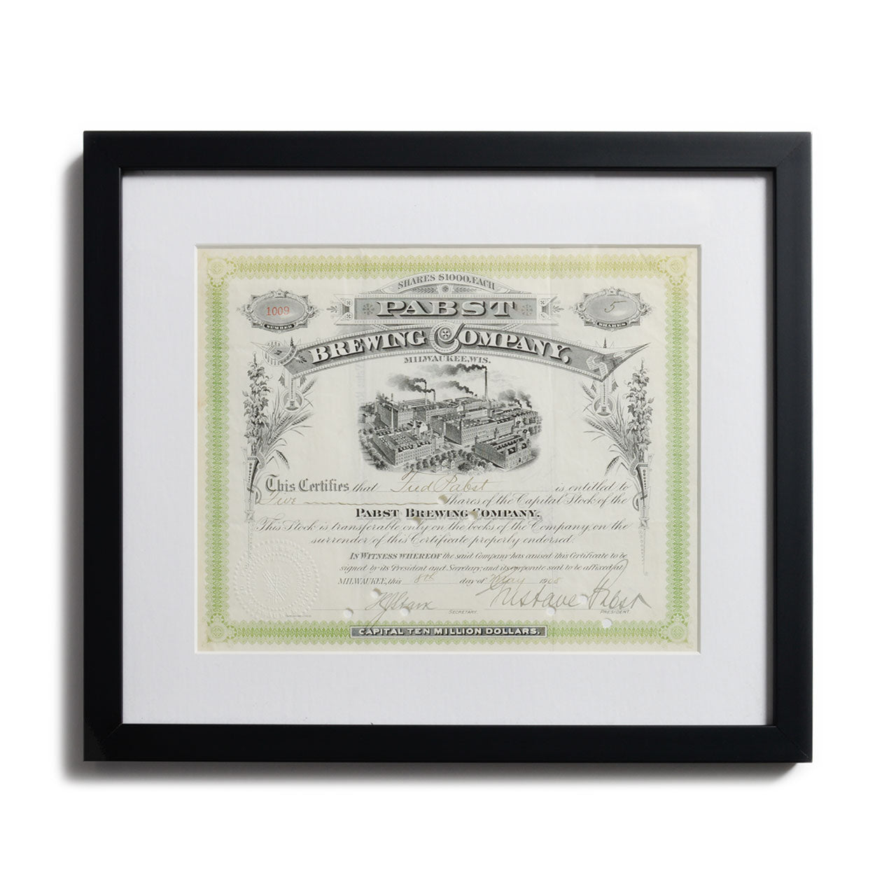 Pabst Brewing Signed Framed Stock Certificate