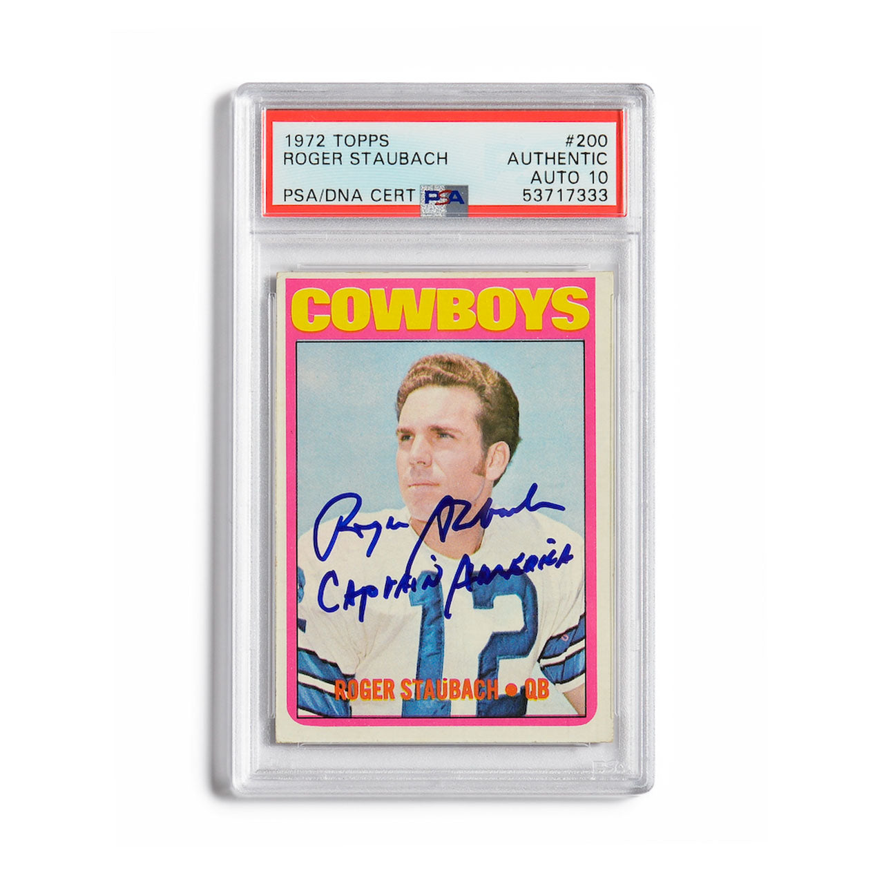 1972 Topps Roger Staubach Autographed Rookie Card