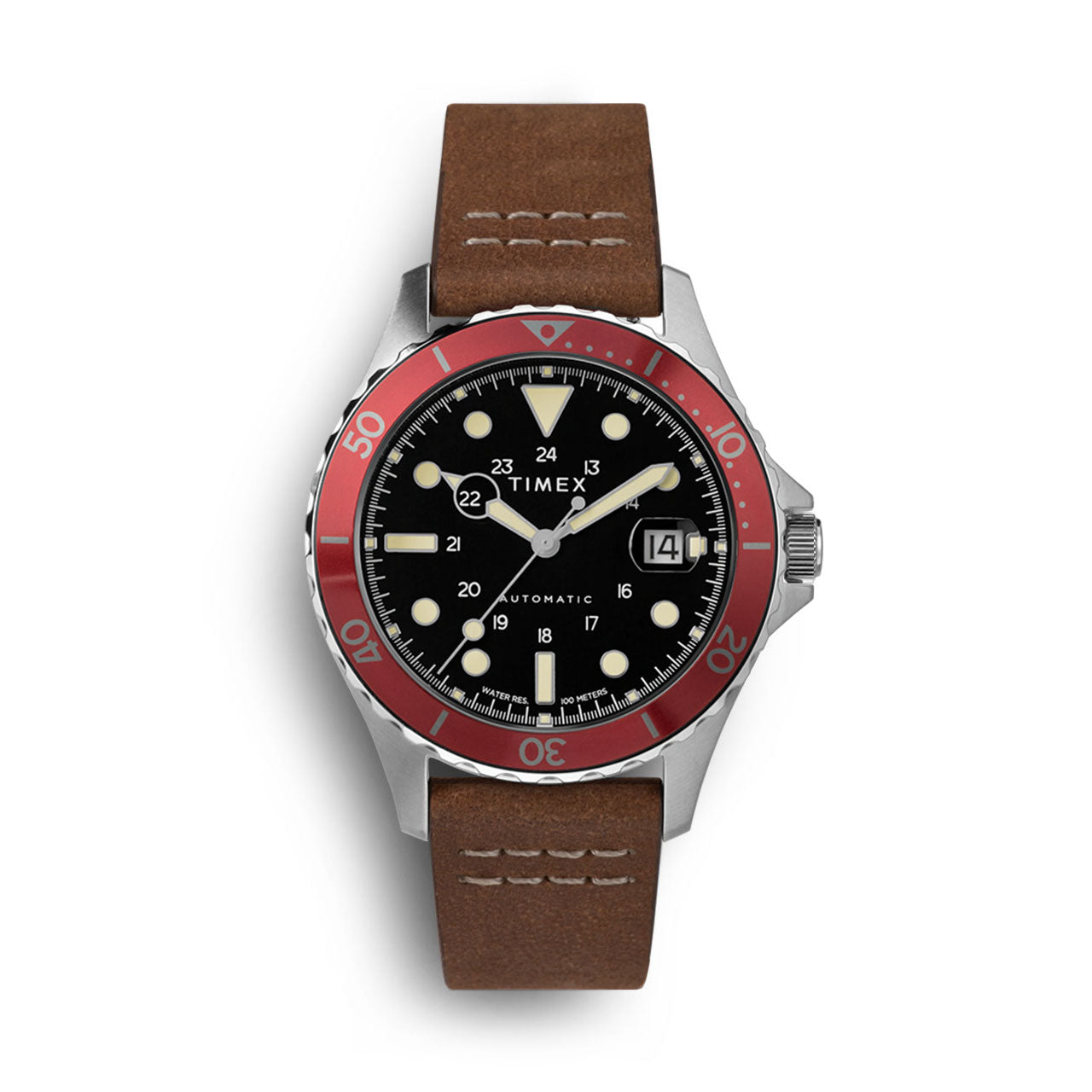 Timex Navi XL Red Bezel Automatic Watch