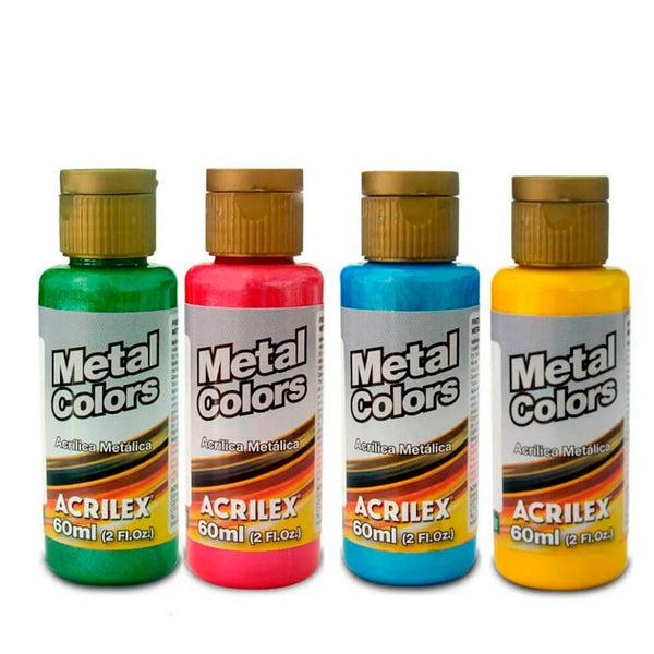 Tinta Metal Colors 60ml Acrilex - AfricanArtesanato