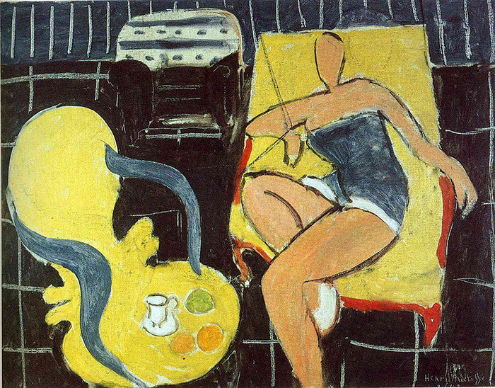 Henri Matisse - Dancer And Rocaille Armchair On A Black Background