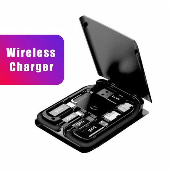 Multi-function Universal Smart Adapter Card Storage Box Wireless Charging for iPhone Xiaomi Travel SIM Card Portable Storage Bag