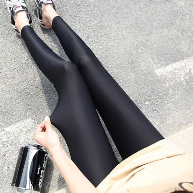Women Solid Color Fluorescent Shiny High Waist Pant Leggings