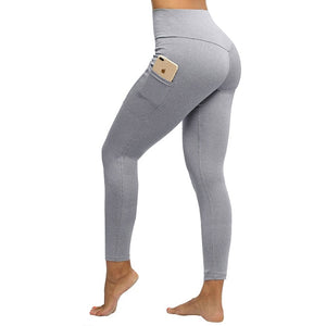 Solid Fitness Push Up Women Workout Leggings High Waist with Pockets
