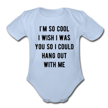 Load image into Gallery viewer, Organic Short Sleeve Baby Bodysuit - sky