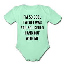 Load image into Gallery viewer, Organic Short Sleeve Baby Bodysuit - light mint