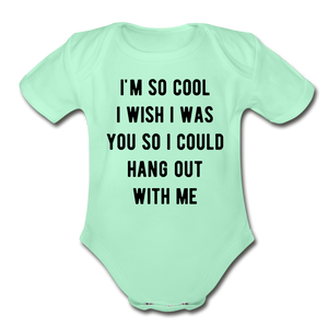 Organic Short Sleeve Baby Bodysuit - light mint