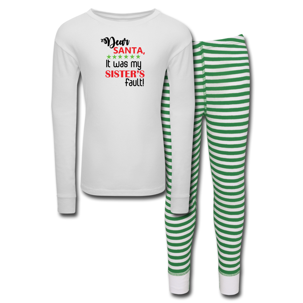 Kids' Pajama Set For Boys - white/green stripe
