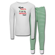 Load image into Gallery viewer, Christmas Kids' Pajama Set for Boys - white/green stripe