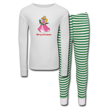 Load image into Gallery viewer, Girls' Holiday Pajama Set - white/green stripe