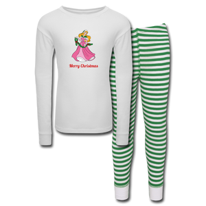 Girls' Holiday Pajama Set - white/green stripe