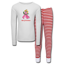 Load image into Gallery viewer, Girls' Holiday Pajama Set - white/red stripe