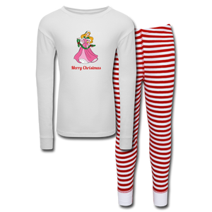 Girls' Holiday Pajama Set - white/red stripe