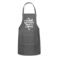 Load image into Gallery viewer, Adjustable Holiday Apron - charcoal