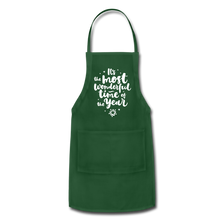 Load image into Gallery viewer, Adjustable Holiday Apron - forest green