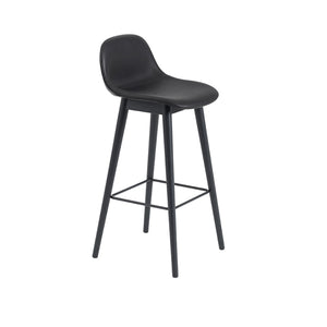 Fiber Bar Stool w/Backrest - Wood Base - Upholstered