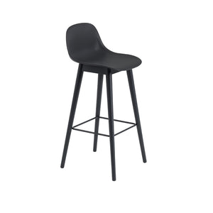 Fiber Bar Stool w/Backrest - Wood Base