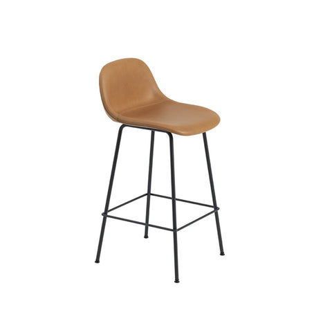 Fiber Counter Stool w/Backrest - Tube Base - Upholstered