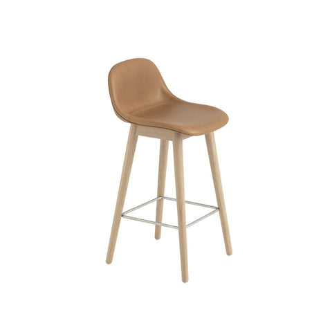 Fiber Counter Stool w/Backrest - Wood Base - Upholstered