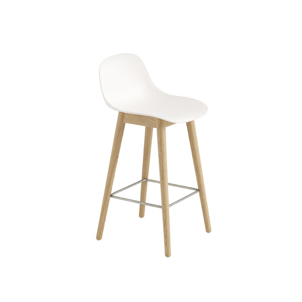 Fiber Counter Stool w/Backrest - Wood Base