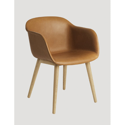 Fiber Dining Arm Chair - Wood Base - Upholstered