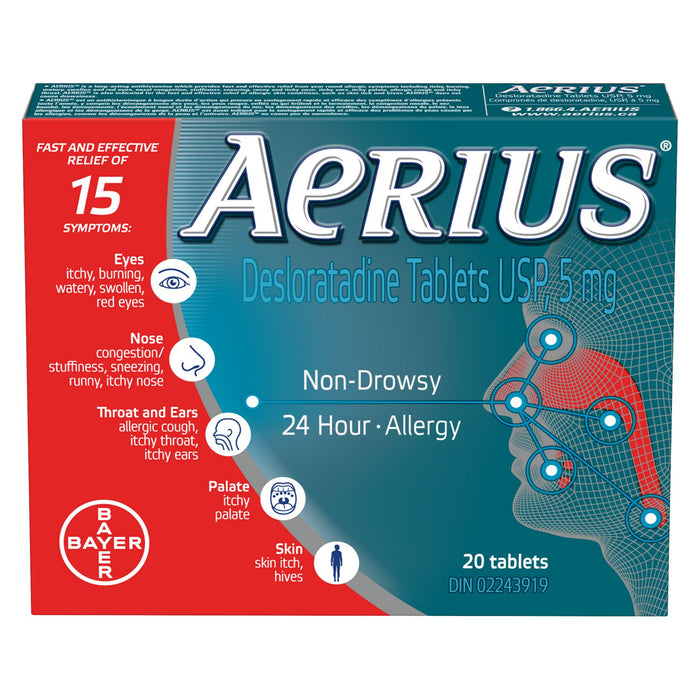 Aerius 24 Hour Allergy Relief 20 Tablets