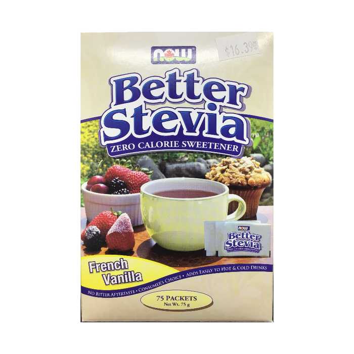 Better Stevia French Vanilla 75 Packets Zero Calorie Sweetener Now