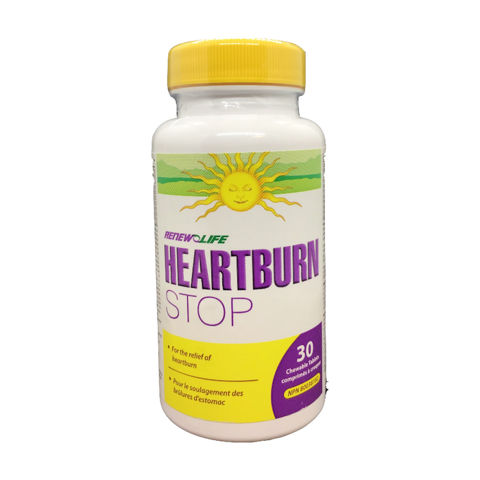 Heartburn Stop 30 Chewable Tablets Renew Life