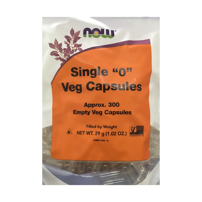 "Single ""0"" 300 Empty Vegetable Capsules Now Foods"