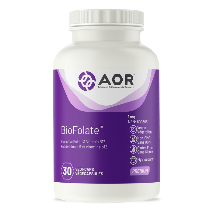 BioFolate 1mg Bioactive Folate & Vitamin B12 30 Capsules AOR