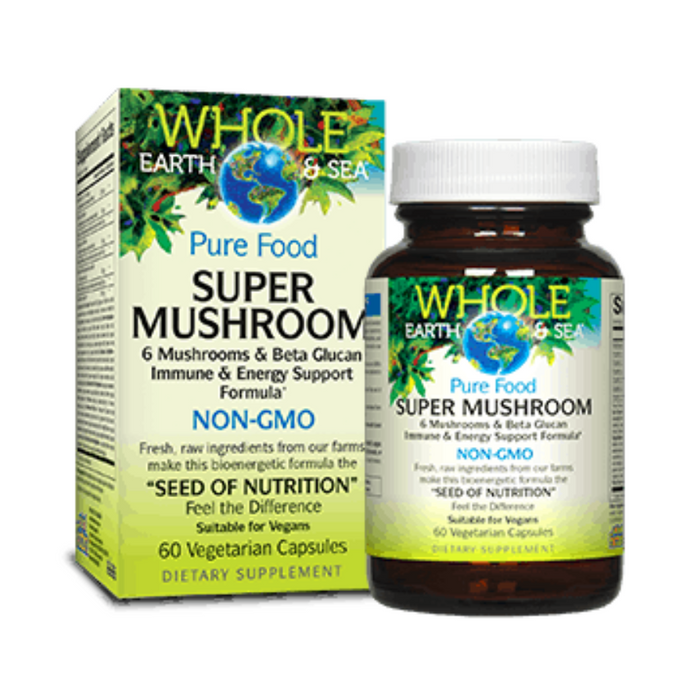 Super Mushroom Immune and Energy Support 60 Capsules Whole Earth & Sea